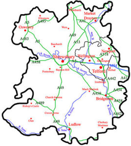 Shropshire County Map to show the Telford and Ironbridge area.