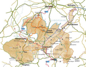 Map of area served by South Shropshire Plumbers.