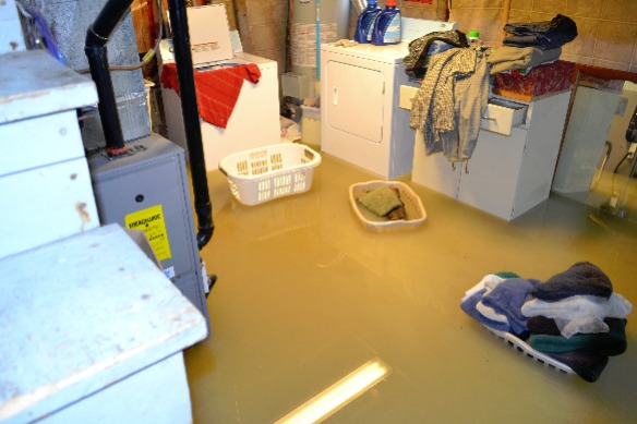 how to mend a blocked drain - image shows the effect of a flood.