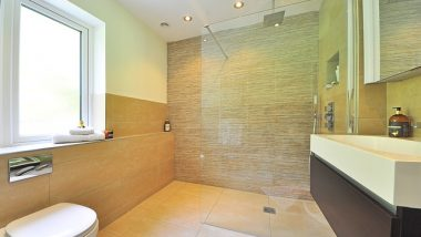 Image shows a walk in shower, a popular bathroom design in Shrewsbury, shropshire