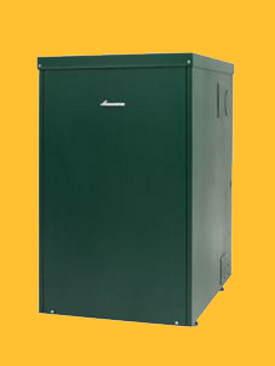 A Modern oil boiler for fitting outside.